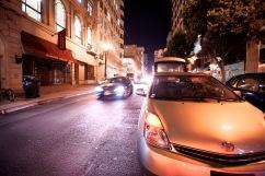 Eji Atlaw's car parked in the left lane in front of Crocker Galleria.